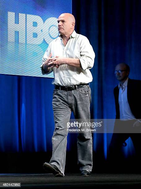 Writer/executive producer David Simon speaks onstage during the 'Show Me A Hero' panel discussion at the HBO portion of the 2015 Summer TCA Tour at...