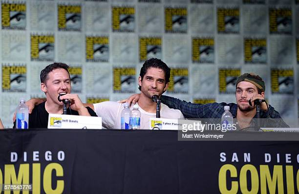 Writer/executive producer Jeff Davis and actors Tyler Posey and Dylan Sprayberry attend the 'Teen Wolf' panel during ComicCon International 2016 at...