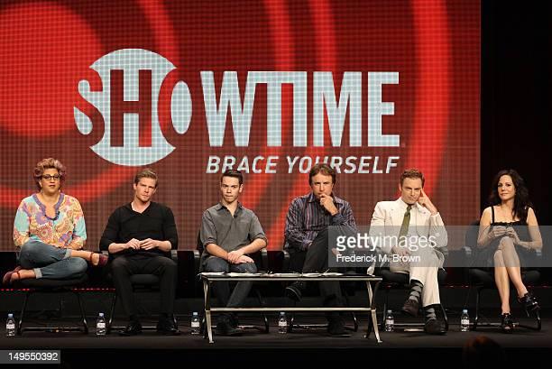 "Writer/executive producer Jenji Kohan, actors Hunter Parrish, Alexander Gould, Kevin Nealon, Justin Kirk, and Mary-Louise Parker speak at the ""Weeds""..."