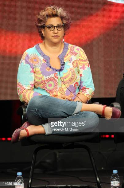 Writer/executive producer Jenji Kohan speaks at the Weeds discussion panel during the Showtime portion of the 2012 Summer Television Critics...