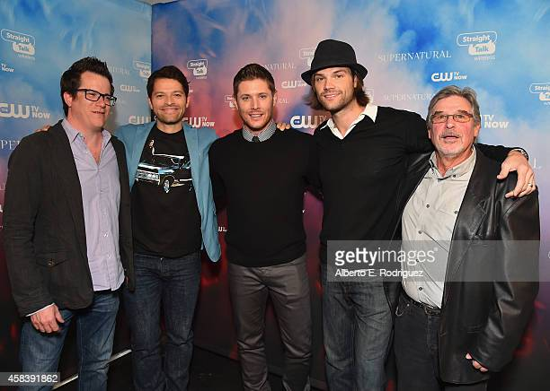Writer/executive producer Jeremy Carver actors Misha Collins Jensen Ackles Jared Padalecki and executive producer Robert Singer attend the CW's Fan...