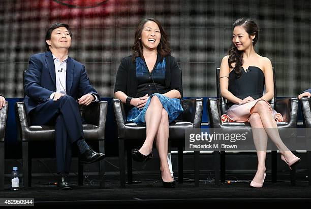 Writer/executive producer Ken Jeong and actresses Suzy Nakamura and Krista Marie Yu speak onstage during the 'Dr Ken' panel discussion at the ABC...