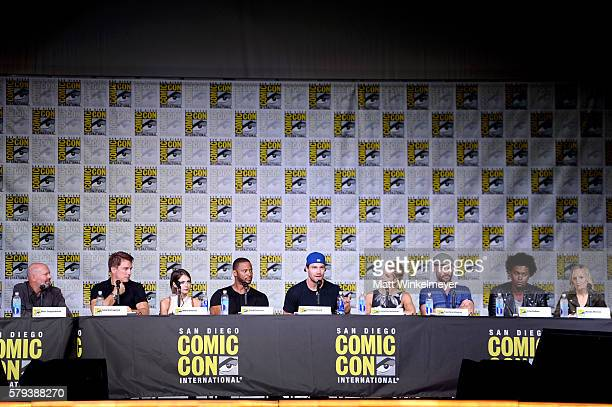Writer/executive producer Marc Guggenheim and actors John Barrowman Willa Holland David Ramsey Stephen Amell Emily Bett Rickards Paul Blackthorne and...