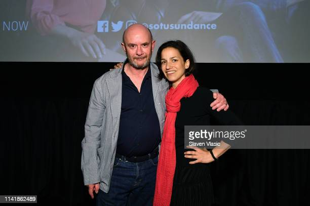Writer/executive producer Nick Hornby and moderator Catie Lazarus attend screening and panel of Sundance TV's new TV series State Of The Union at IFC...
