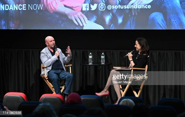 Writer/executive producer Nick Hornby talks to moderator Catie Lazarus at panel for Sundance TV's new TV series State Of The Union at IFC Center on...