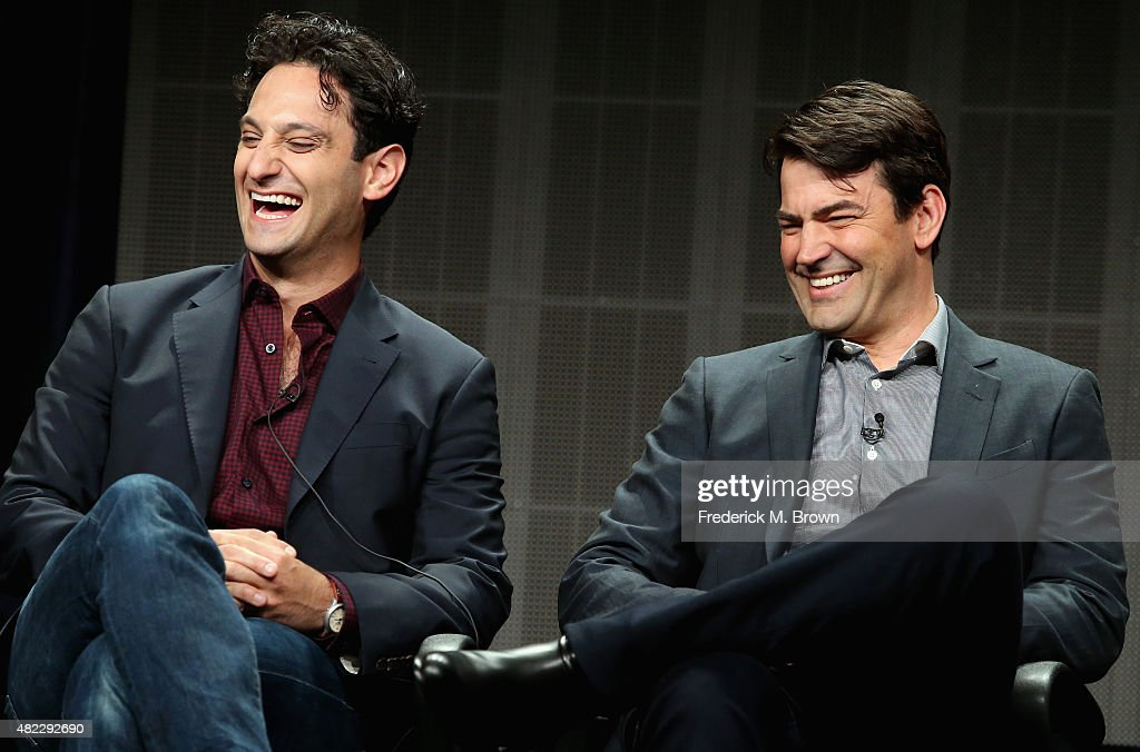 Writer/executive producer Seth Fisher and actor Ron Livingston speak onstage during the 'Saints & Strangers' panel discussion at the National Geographic Channel portion of the 2015 Summer TCA Tour at The Beverly Hilton Hotel on July 29, 2015 in Beverly Hills, California.