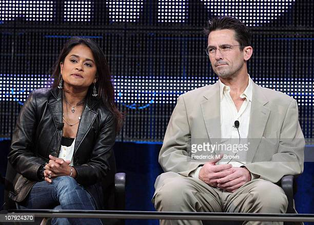 Writer/executive producer Veena Sud and actor Billy Campbell speak during the 'The Killing' panel at the AFC portion of the 2011 Winter TCA press...