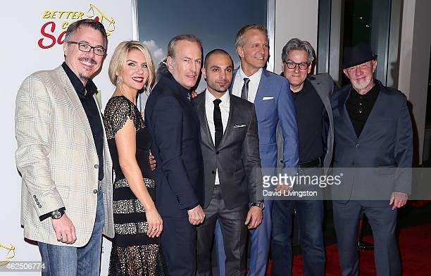 Writer/executive producer Vince Gilligan actors Rhea Seehorn Bob Odenkirk Michael Mando and Patrick Fabian writer Peter Gould and actor Jonathan...