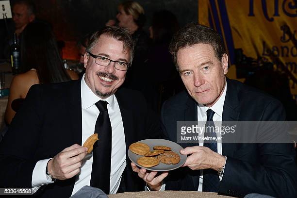 Writer/executive producer Vince Gilligan and actor Bryan Cranston attend Backstage at the Geffen at Geffen Playhouse on May 22 2016 in Los Angeles...