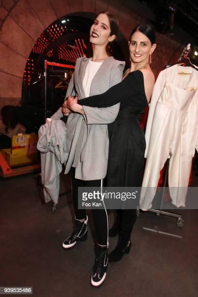 Writer/Model Sylvie Ortega Munos and model Alisson Malfroy attend the Olga Boyarinova Couture Show At Euphoriom Club In Paris on March 28 2018 in...