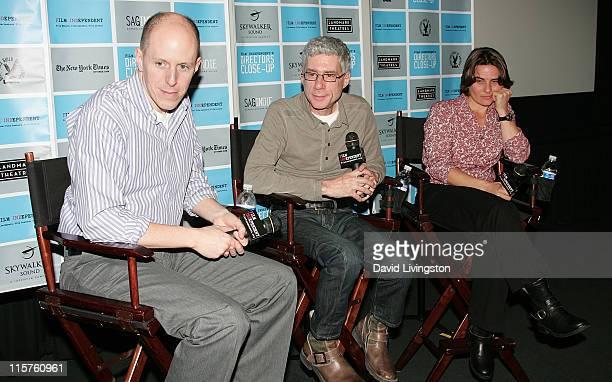 Writer/moderator John August director Jeffrey Friedman and sound rerecording mixer Lora Hirschberg attend a QA at Film Independent's Director's Close...