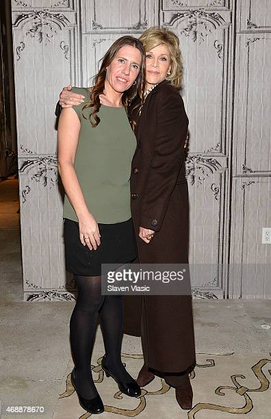 Writer/moderator Marianne Schnall and actress/activist Jane Fonda attend the AOL BUILD Speaker Series at AOL Studios In New York on April 7 2015 in...