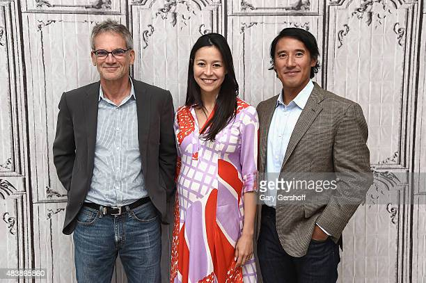 Writer/mountaineer Jon Krakauer, filmmakers E.Chai Vasarhelyi and Jimmy Chin attend at AOL Studios In New York on August 13, 2015 in New York City.