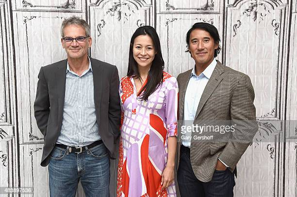 Writer/mountaineer Jon Krakauer filmmakers EChai Vasarhelyi and Jimmy Chin attend AOL Build Presents MERU at AOL Studios In New York on August 13...
