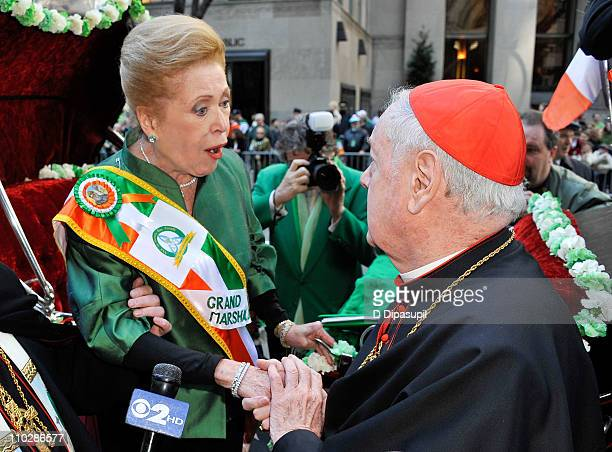 Writer/novelist Mary Higgins Clark and Edward Cardinal Egan attend the 250th Annual St Patrick's Day Parade on the Streets of Manhattan on March 17...
