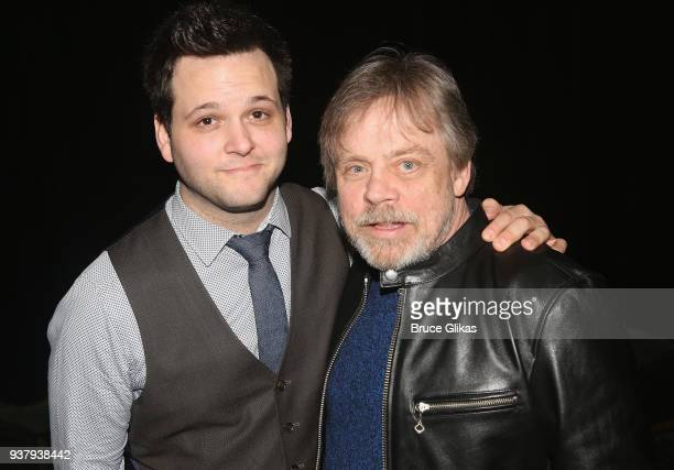 Writer/Performer Derek GelGaudio and Mark Hamill pose backstage at the hit illusion play 'In Of Itself' at The Daryl Roth Theatre on March 25 2018 in...