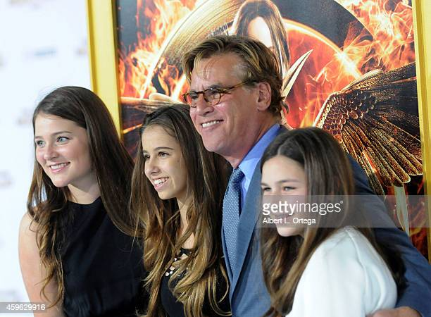 """Writer/producer Aaron Sorkin with daughter Roxy and friends arrive for the Premiere Of Lionsgate's """"The Hunger Games: Mockingjay - Part 1"""" - Arrivals..."""