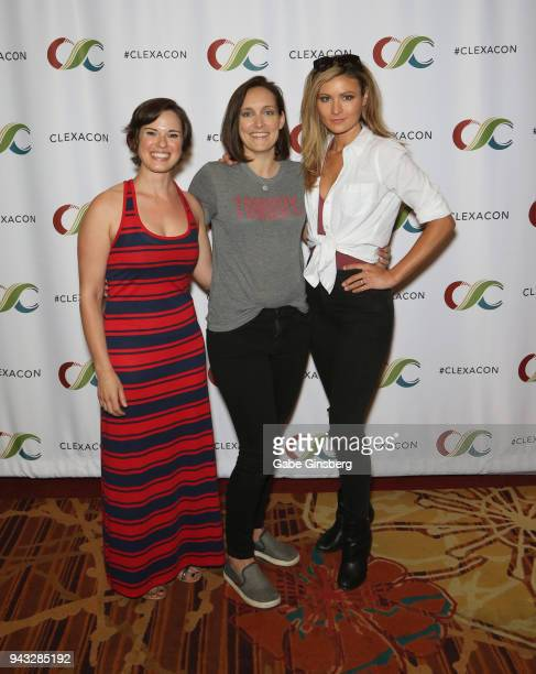 Writer/producer Amy Dellagiarino actor/writer/producer Lisa Cordileone and actress Haviland Stillwell attend the ClexaCon 2018 convention at the...