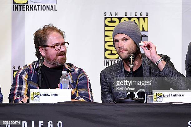 Writer/producer Andrew Dabb and actor Jared Padalecki attend the Supernatural Special Video Presentation And QA during ComicCon International 2016 at...