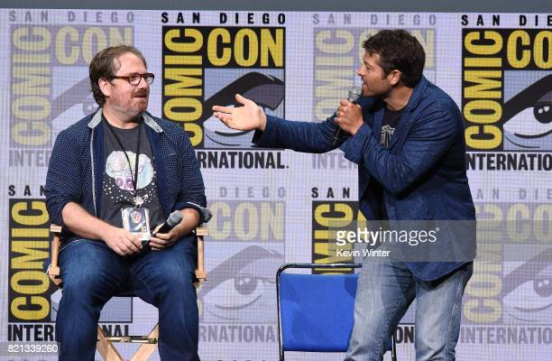Writer/producer Andrew Dabb and actor Misha Collins at the 'Supernatural' panel during ComicCon International 2017 at San Diego Convention Center on...