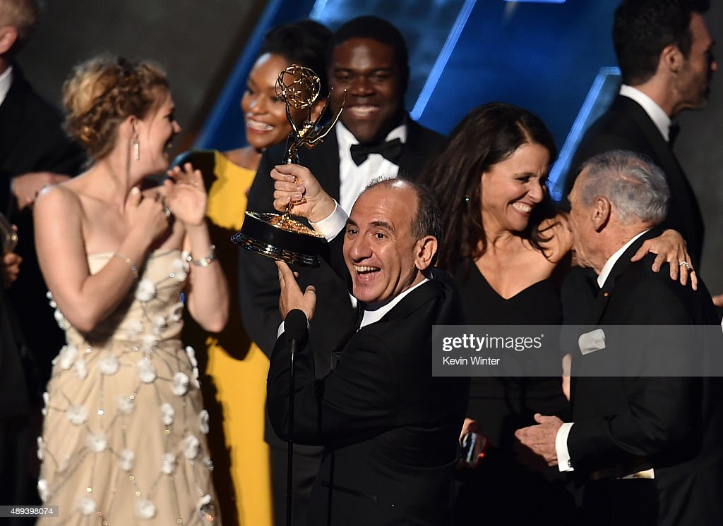 Writer/producer Armando Iannucci (C) with cast and crew accept Outstanding Comedy Series award for 'Veep' onstage during the 67th Annual Primetime Emmy Awards at Microsoft Theater on September 20, 2015 in Los Angeles, California.