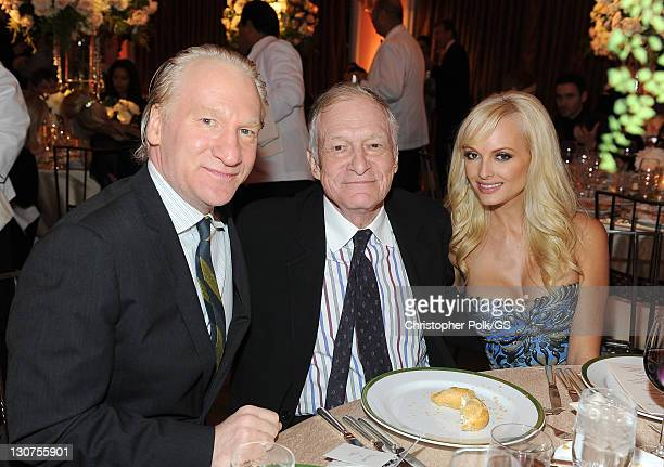 Writer/Producer Bill Maher Founder of Playboy Enterprises Hugh Hefner and Shera attend the wedding of Gene Simmons and Shannon Tweed at the Beverly...
