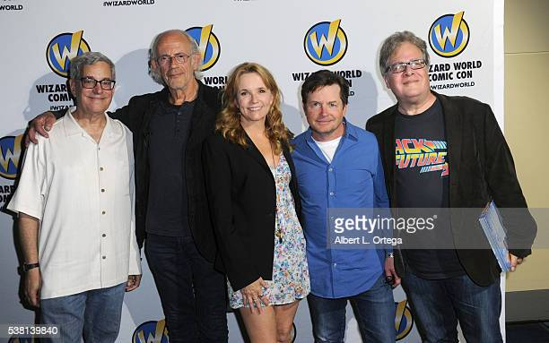 Writer/producer Bob Gale actor Christopher Lloyd actress Lea Thompson actor Michael J Fox and writer Michael Klastorin of 'Back To The Future' on day...