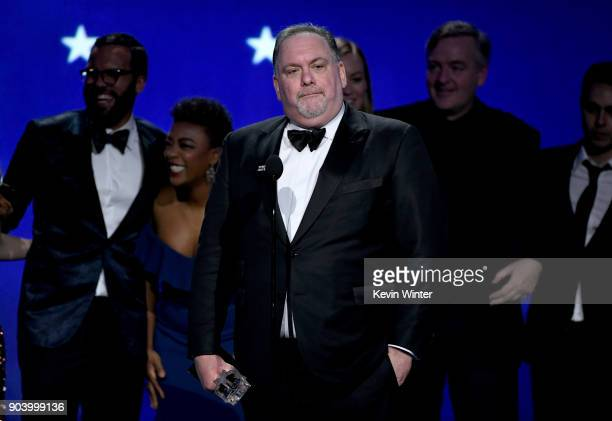 Writer/producer Bruce Miller accepts Best Drama Series for 'The Handmaid's Tale' onstage during The 23rd Annual Critics' Choice Awards at Barker...