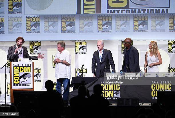 Writer/producer Bryan Fuller actors William Shatner Brent Spiner Michael Dorn and Jeri Ryan attend the 'Star Trek' panel during ComicCon...