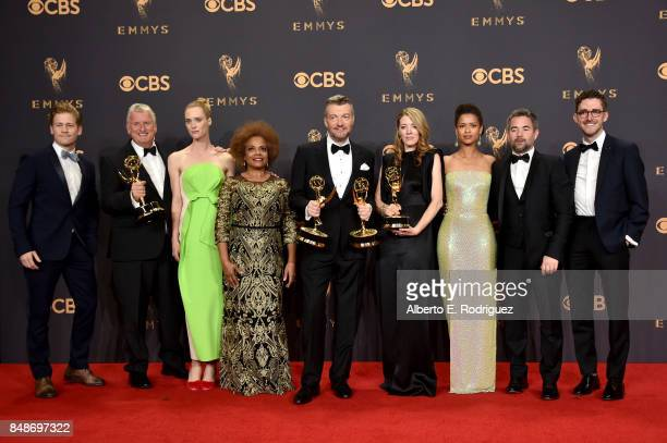 Writerproducer Charlie Brooker and cast and crew of 'Black Mirror' winners of Outstanding Television Movie pose in the press room during the 69th...