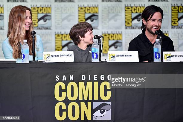 Writer/producer Corinne Brinkerhoff actors Gabriel Bateman and Justin Chatwin attend CBS Television Studios Block including Scorpion American Gothic...