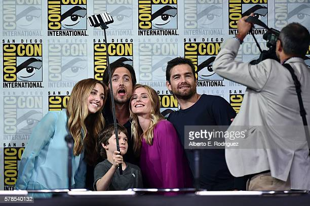 Writer/producer Corinne Brinkerhoff actors Gabriel Bateman Justin Chatwin Megan Ketch and Antony Starr pose for a photo at CBS Television Studios...