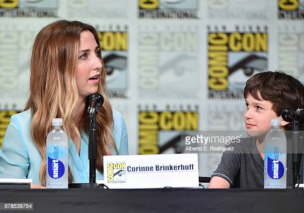 Writer/producer Corinne Brinkerhoff and actor Gabriel Bateman attend CBS Television Studios Block including 'Scorpion' 'American Gothic' and...