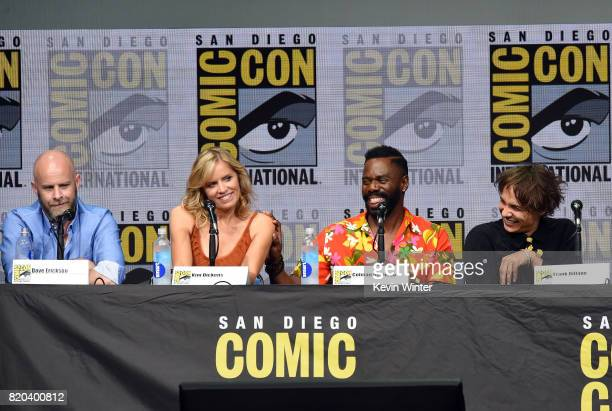 Writer/producer Dave Erickson actors Kim Dickens Colman Domingo and Frank Dillane speak onstage at the 'Fear The Walking Dead' panel during ComicCon...