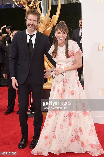 Writer/producer David Benioff and actress Amanda Peet attend the 66th Annual Primetime Emmy Awards held at Nokia Theatre LA Live on August 25 2014 in...