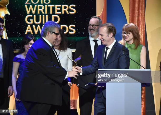Writerproducer David Mandel and the writers of 'Veep' accept the Comedy Series award from actor Bob Odenkirk onstage during the 2018 Writers Guild...