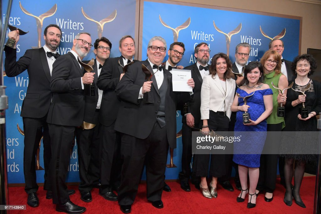 Writer-producer David Mandel and the writers of 'Veep', winners of the Comedy Series award, pose during the 2018 Writers Guild Awards L.A. Ceremony at The Beverly Hilton Hotel on February 11, 2018 in Beverly Hills, California.