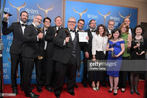 Writerproducer David Mandel and the writers of 'Veep' winners of the Comedy Series award pose during the 2018 Writers Guild Awards LA Ceremony at The...
