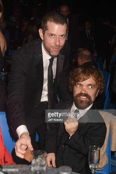 Writer/producer DB Weiss and actor Peter Dinklage attend HBO's Official 2016 Emmy After Party at The Plaza at the Pacific Design Center on September...