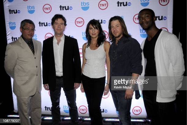 Writer/producer Dean Devlin actor Timothy Hutton actress Gina Bellman actor Christian Kane and actor Aldis Hodge attend the 2008 Turner Upfront at...