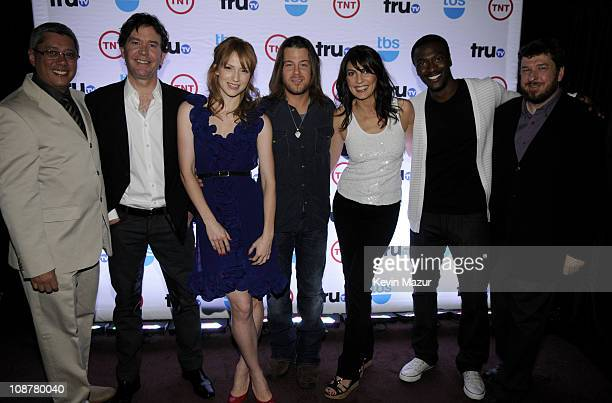 Writer/producer Dean Devlin actors Timothy Hutton Beth Riesgraf Christian Kane Gina Bellman and Aldis Hodge and producer John Rogers attend the 2008...