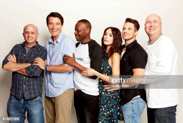 Writer/producer Eric Kripke actors Goran Visnjic Malcolm Barrett Abigail Spencer Matt Lanter and writer/producer Shawn Ryan from NBC's 'Timeless'...