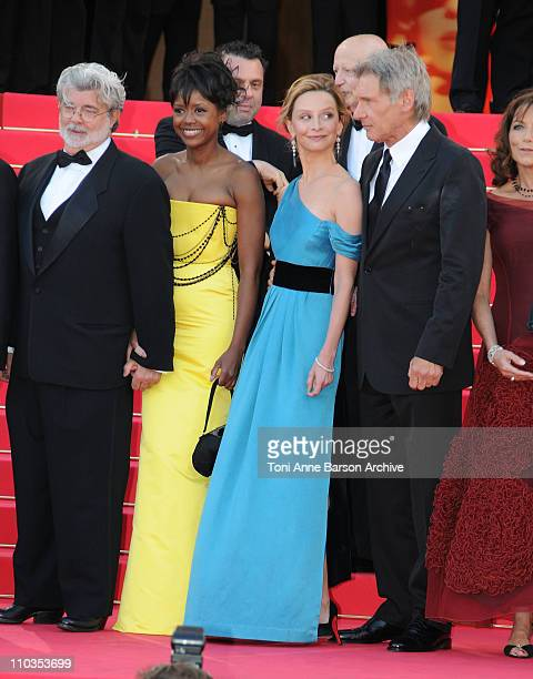 Writer-producer George Lucas, Mellody Hobson, actress Calista Flockhart and actor Harrison Ford attend the Indiana Jones and the Kingdom of the...