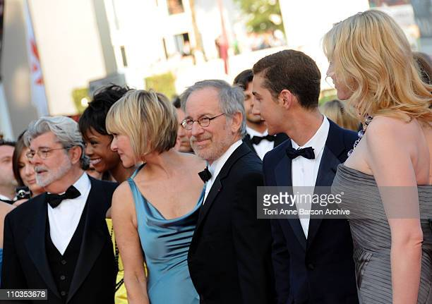 Writer-producer George Lucas, Mellody Hobson, Kate Capshaw, director Steven Spielberg, Shia LaBeouf and Cate Blanchett attends the Indiana Jones and...