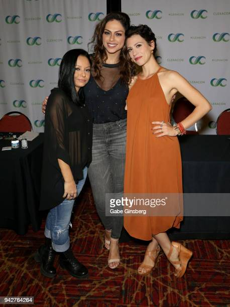 Writer/producer Germana Belo actresses Ana Paula Lima and Luciana Bollina attend the ClexaCon 2018 convention at the Tropicana Las Vegas on April 6...