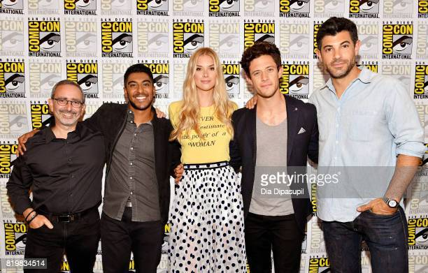 Writer/producer Jeff Schechter actors Ritesh Rajan Emma Ishta Kyle Harris and Damon Dayoub at the Freeform press line for Stitchers and Shadowhunters...