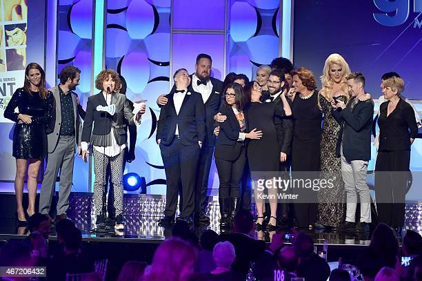Writer-producer Jill Soloway and the cast and crew of 'Transparent' accept the award for Outstanding Comedy Series onstage during the 26th Annual...