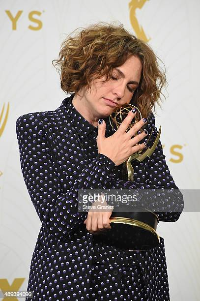 Writer/producer Jill Soloway poses with an Emmy award in the press room at the 67th Annual Primetime Emmy Awards at Microsoft Theater on September 20...