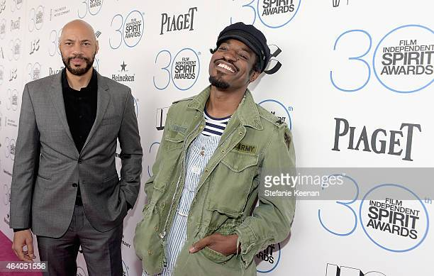 Writer/producer John Ridley and actor/recording artist Andre Benjamin attend the 30th Annual Film Independent Spirit Awards at Santa Monica Beach on...