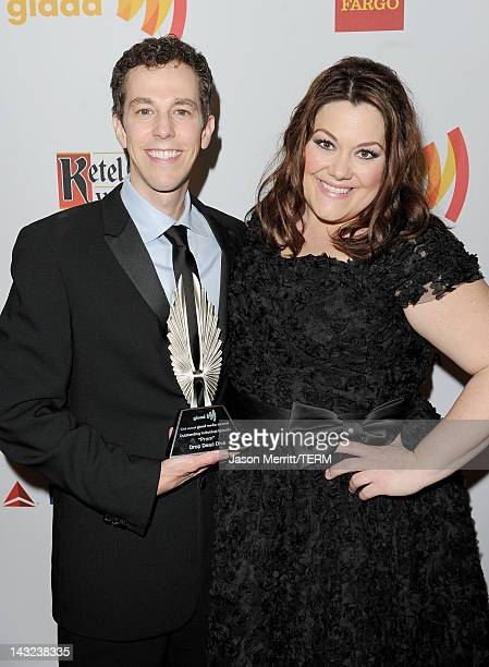 Writer/producer Josh Berman and actress Brooke Elliott pose with their award backstage at the 23rd Annual GLAAD Media Awards presented by Ketel One...
